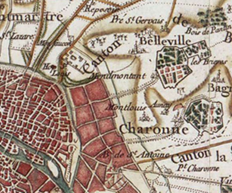 A map from 1780 shows Ménilmontant in Paris