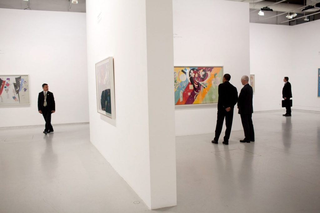 President Barack Obama tours a Kandinsky exhibit at the Centre Pompidou modern art museum in Paris, June 6, 2009. Public domain