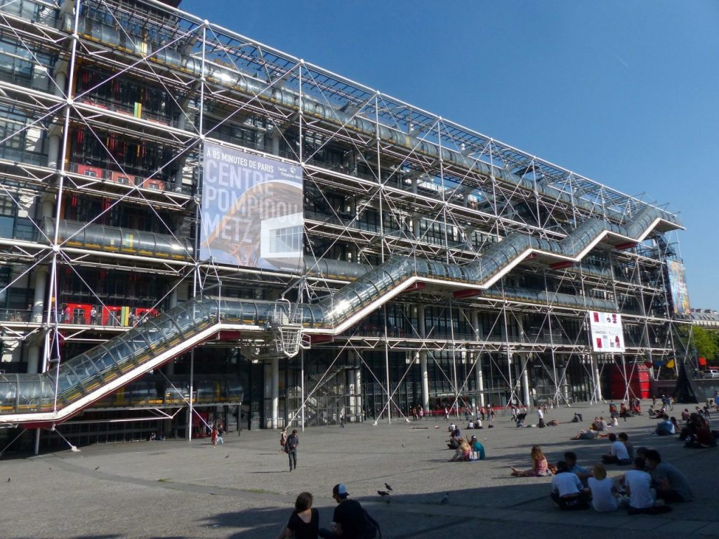 The Georges Pompidou Center in Paris houses the National Museum of Modern Art